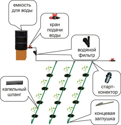 Схема системы капельного