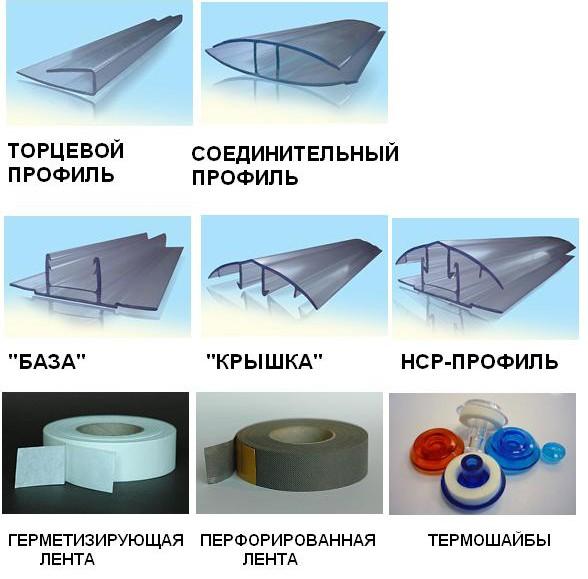 виды комплектующих для теплиц из поликарбоната