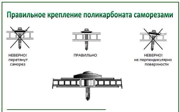 Схема крепления поликарбоната саморезами