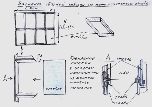 Крепление стекла к сварным секциям теплицы