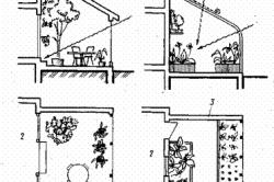 Схема солнечного освещения оранжереи: а — веранда — озелененное солнечное место в доме; б — оранжерея-теплица с солнечным отоплением; 1 — жалюзи; 2 — жилое помещение дома; .3 — теплоизолированные стены.