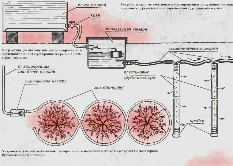 Схема капельного полива из