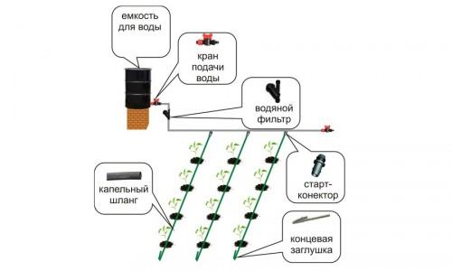 Схема устройства системы капельного полива